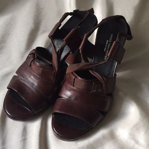 Dries Van Noten platform sandal heels brown 38.5